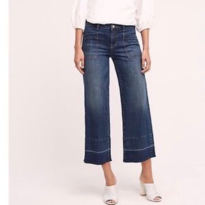 Anthro Pilcro  Wide Leg High Rise Cropped Jeans 32